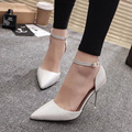 Woman Wedding Shoes Silver Heeled Ankle Strap Pumps White Office Dress Shoes Women High Heels Boat Shoes zapatos mujer 3333