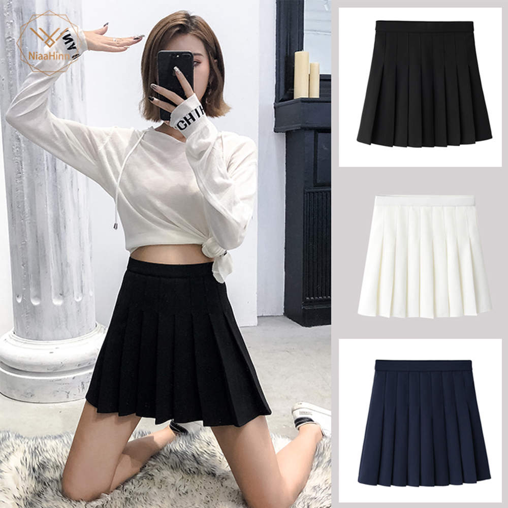 New High Waist A Line Pleated Skirts Harajuku Lolita Gray White Black A-line Sailor Skirt Cosplay Japanese School Skirts Uniform