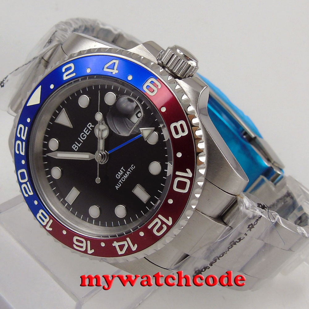 40mm Bliger black dial luminous GMT date sapphire glass automatic mens watch 175 цена и фото