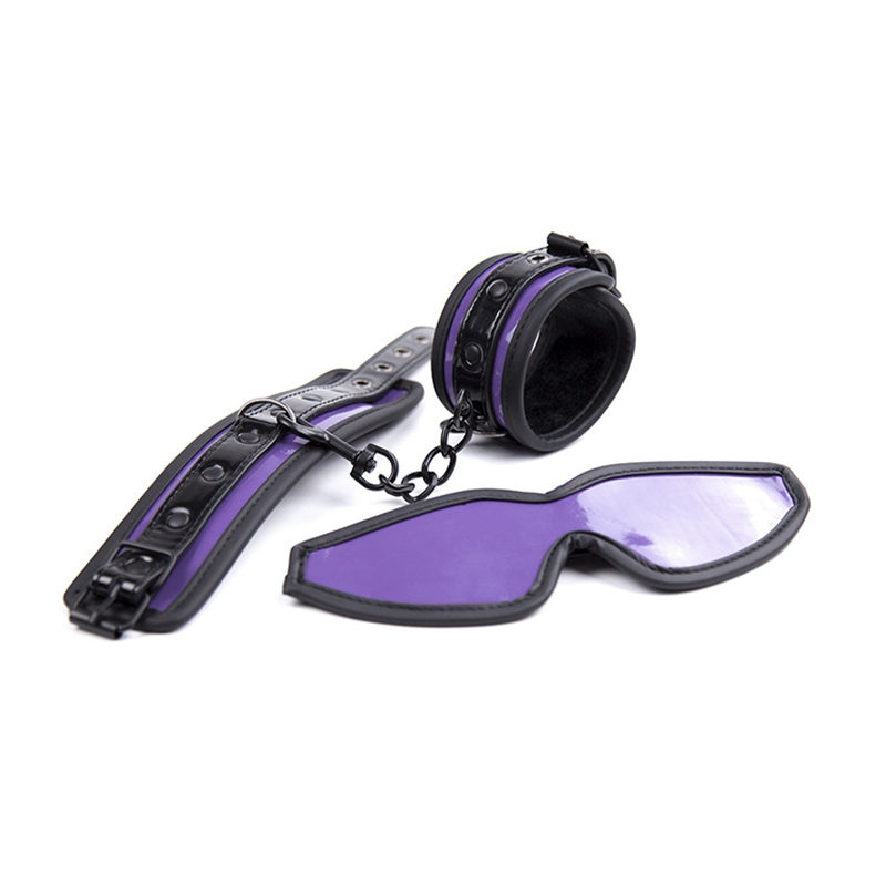 Purple Handcuffs Blindfolded For Sex Leather Bdsm Exotic Accessories Set Adults Games Tools Patch Hand Cuffs Bondage Harness