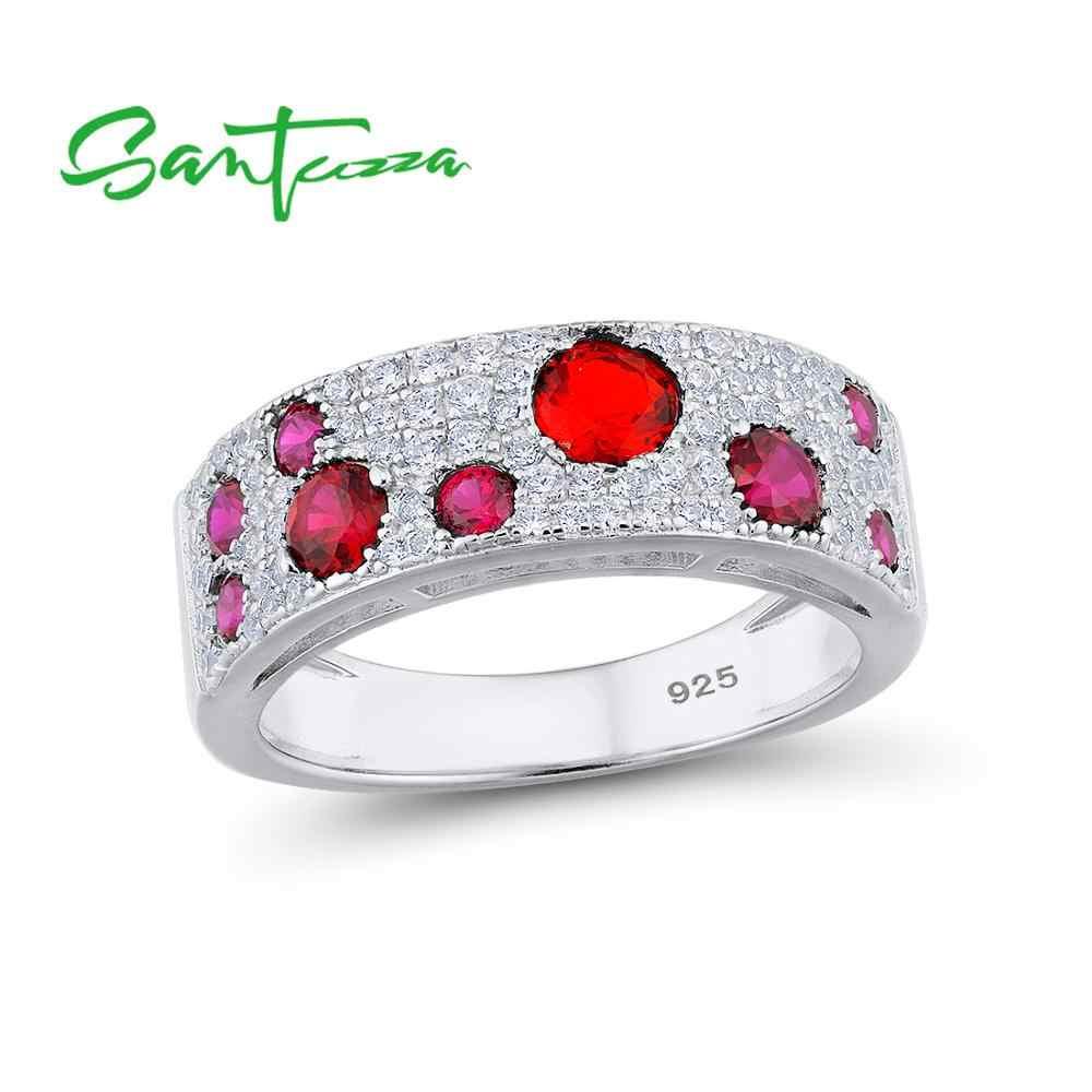 SANTUZZA Серебряный набор украшений для женщин 925 пробы серебряные сверкающие красные серьги-гвоздики с камнем набор колец Гламурные модные ювелирные изделия