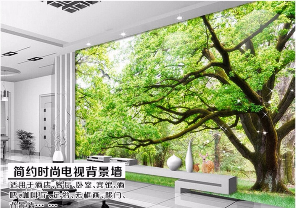 Wdbh custom mural 3d wallpaper green trees landscape room for Wallpaper home murals