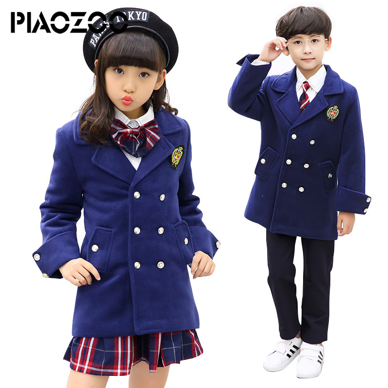 Children Navy Blue Cotton Japanese Student School Uniforms Set Suit for Girls Boys Woolen coat Shirt Skirt pant Tie Clothes P20 цена
