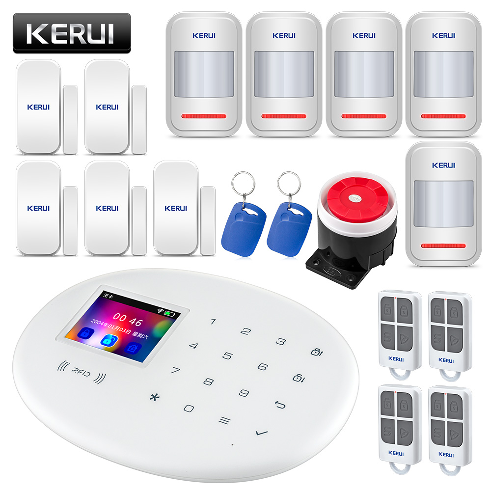 KERUI W20 Wireless RFID SIM GSM Burglar Sensor Home Security WIFI Alarm System IOS Android APP Control LCD Touch Keyboard wireless sim gsm home rfid burglar security lcd touch keyboard wifi gsm alarm system sensor kit english russian spanish french