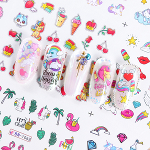 Image 4 - 12 Designs Unicorns Rainbow Sliders for Nails Watermark Sticker Wings Lovely Nail Art Decorations Manicure Tattoo LABN1057 1068