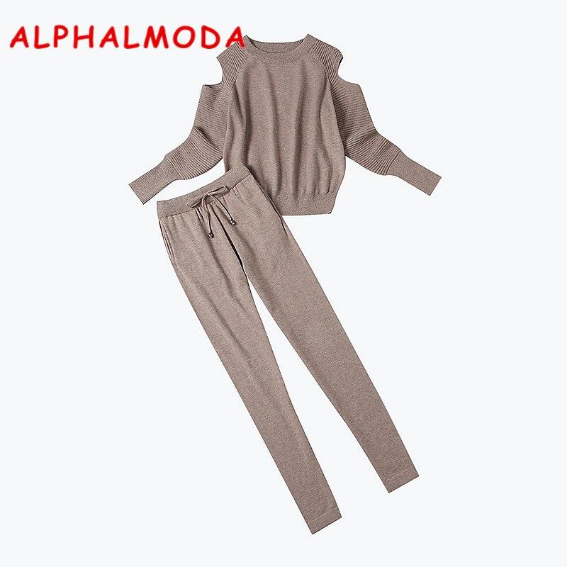 ALPHALMODA 2018 зима новые женские трикотажные спортивные костюмы с открытыми плечами пуловеры вязаный джемпер однотонные брюки 2 шт. повседневны...