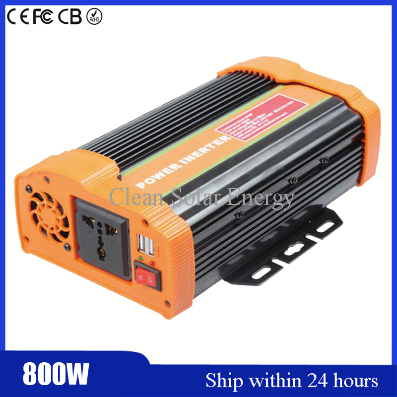 China Car Portable Inverter DC24V to AC220V-240V 800W (Peak 1600W) E-Car Modified Sine Wave Inverter Converter with 5V USB Port china manufacture sell 300w 12v to 115v car use inverter maili brand one year warranty