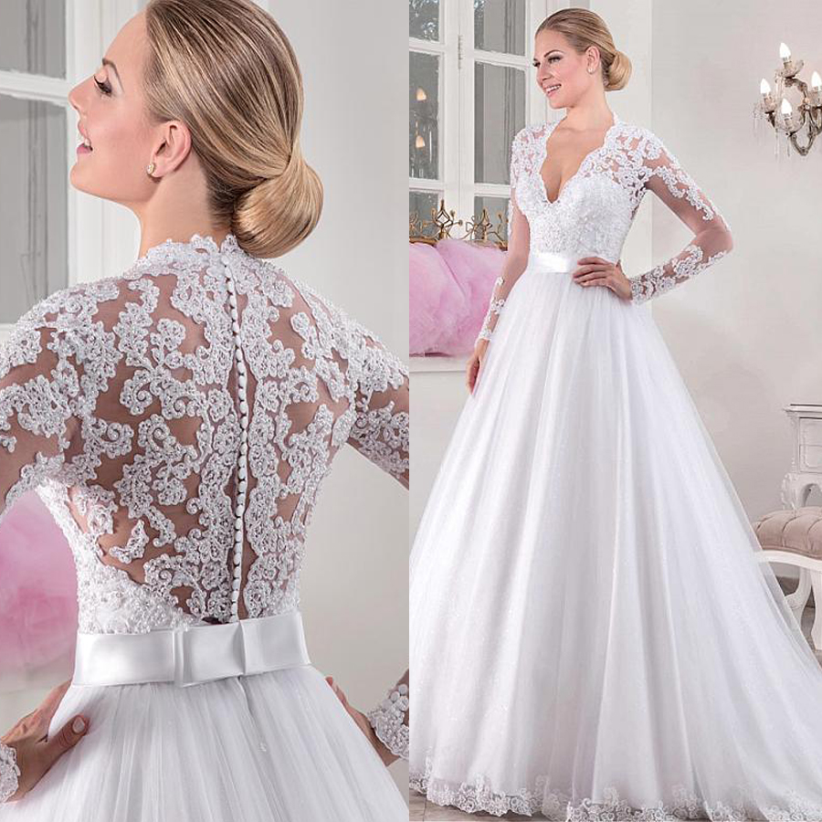 Chic Tulle V-neck Neckline Natural Waistline A-line Long Sleeves Wedding Dress With Beaded Lace Appliques Bridal Dress