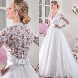 Image 1 - シックなチュール V ネックネックライン自然ウエスト A ライン長袖のウェディングドレスとビーズレースアップリケウェディングドレス