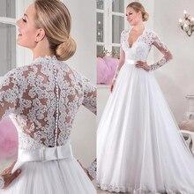 Vestido de novia elegante de tul con escote en V, cintura Natural, manga larga, con aplicaciones encaje con cuentas
