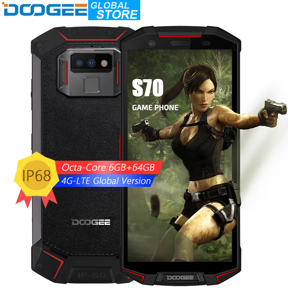 DOOGEE S70 IP68/IP69K Étanche Helio P23 Octa Core 6 GB 64 GB LTE Sans Fil Charge NFC 5500 mAh 12V2A charge rapide 5.99 ''FHD 16MP