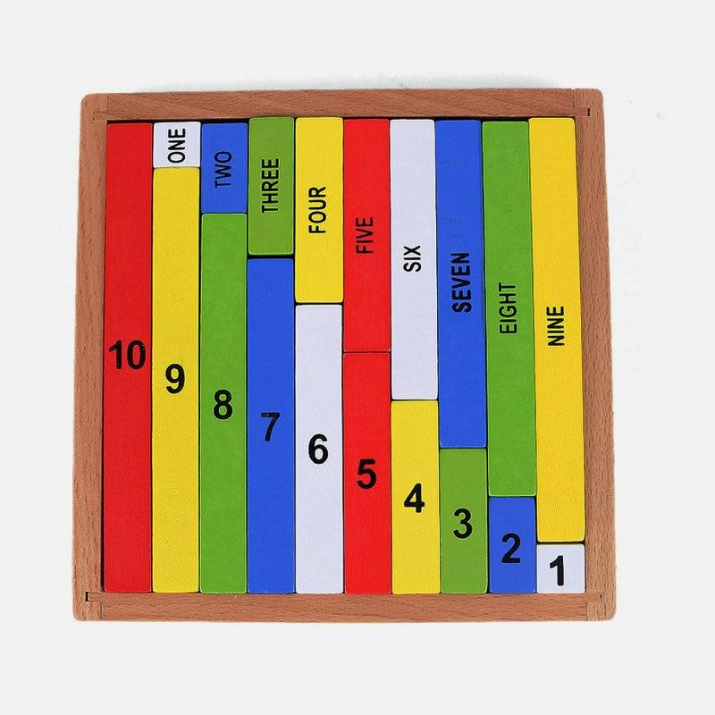 Безкоштовна доставка Дерев'яні Цифрові 0-9 дітей кольорові десяткові палички іграшки Діти Класичний раннього освіти Монтессорі Математика СНІД