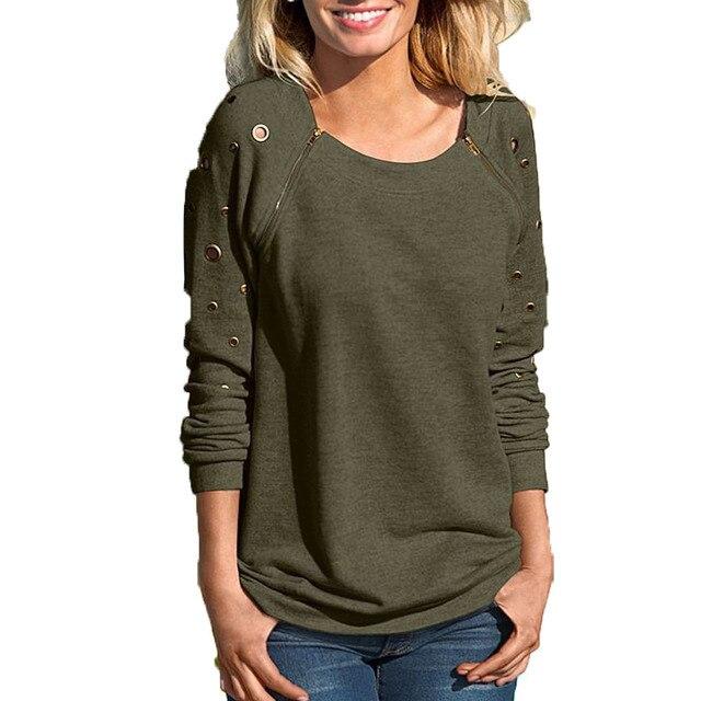 2017 Moda feminina Oco Gola Zipper de Manga Comprida Camisola T Shirt Tops T-shirts para as mulheres