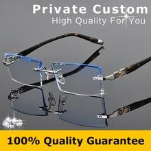 Luxuriöse Gläser 2016 Optische Brillen Männer Randlose Myopie Prescription Anti-strahlung Marke Klar Hyperopie Brillen 613