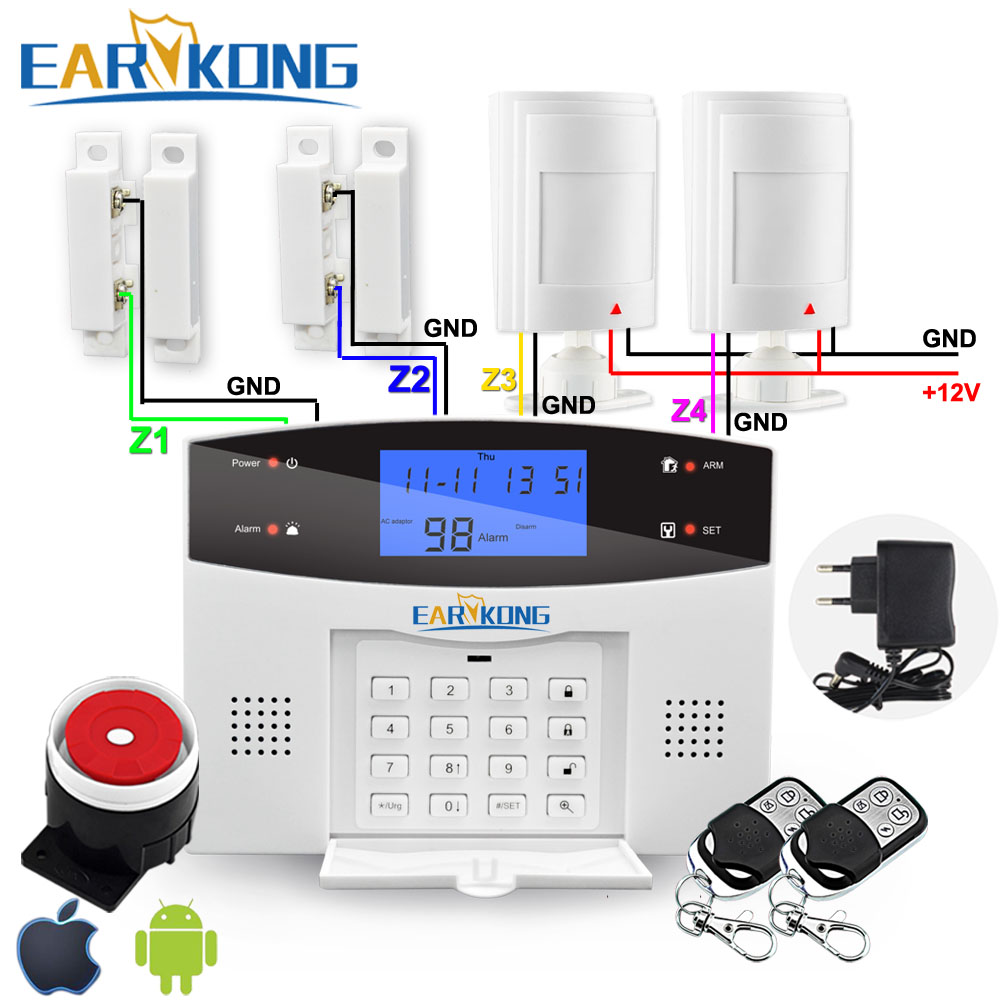 Wired Wireless PSTN GSM Alarm System Russian Spanish French Italian English Door Window Open Sensor Motion