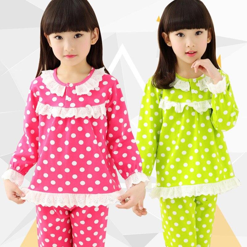 Autumn Winter Kids Fashion Pajamas Sets For Girls Dot Print Sleepwear Children 100%cotton Clothes Sets Baby Girls Home Wear