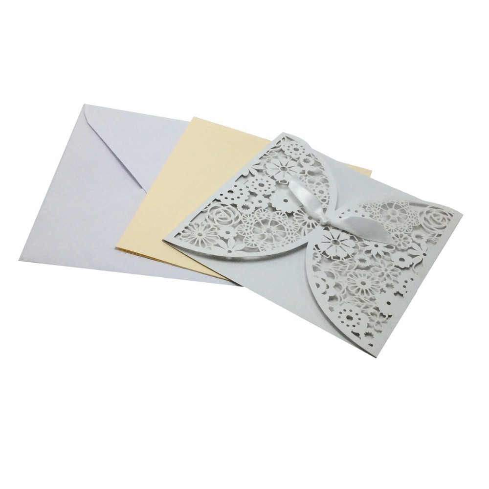20Pieces Bowknot Wedding Invitation Card Laser Cut White Hollow Flowers  Blank Inside With Envelope