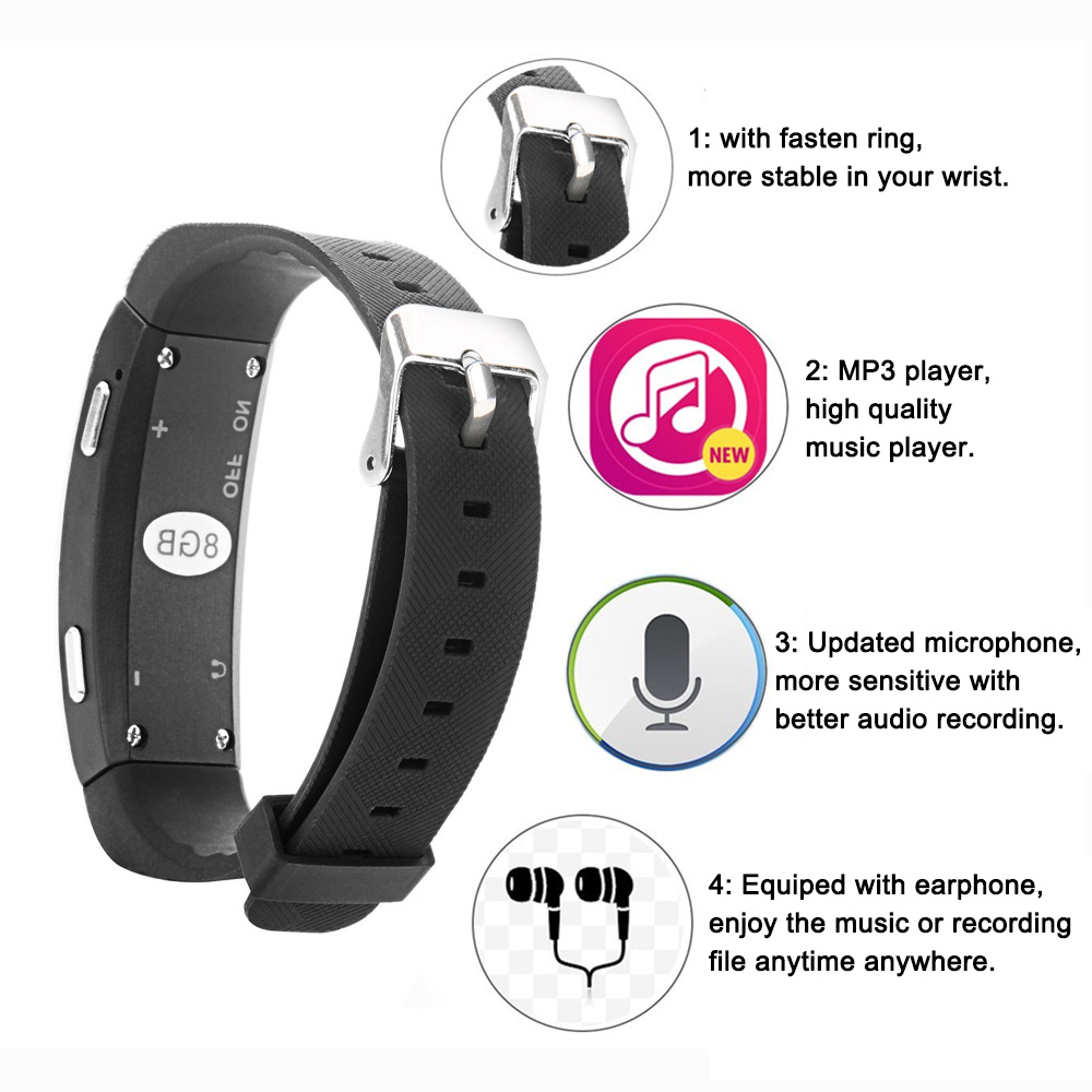 GEVO 8G digitalni diktafon narukvica MP3 glazbeni player glasom - Prijenosni audio i video - Foto 2