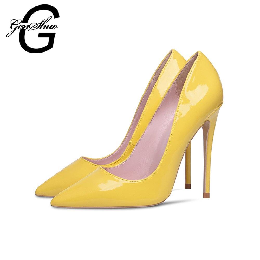 GENSHUO Bombas Amarillas Zapatos Mujer Tacones altos Punta estrecha Lacquer 10 12 cm Tacones atractivos Zapatos de boda del partido Tacones de aguja Tacones grandes Tamaño