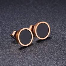 Minimalist Earrings Small Simple Rose Gold Color Circle Stud Earrings in Stainless Steel Geometric Jewelry