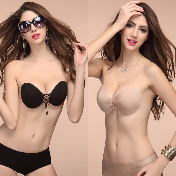 Women Self Adhesive Strapless Bandage Stick Gel Silicone Push Up Invisible Bra H34