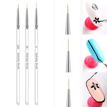 Clear Professional 3pcs/set Nail Pen 3 Lengths Brush Head Set DIY Painting Drawing Manicure Art Tool LDP01