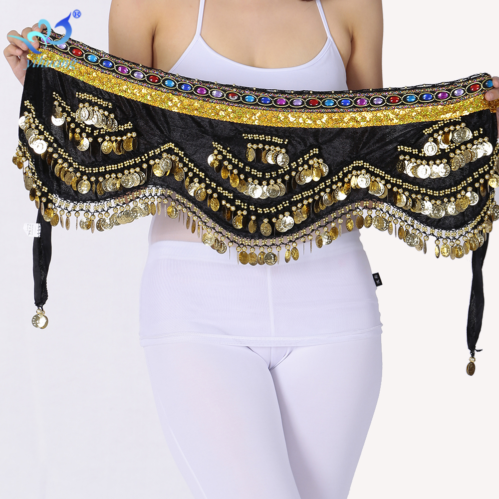 Ladies Belly Dance Kostym Hip Scarf Belly Dance Belt Indiska Dansare Outfits Handgjorda Velvet 250 Mynt Träning Prestanda