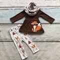 2016 ОСЕНЬ/Зима шарф набор детей хлопок лиса печати коричневый девушки 3 шт карие длинные рукава брюки бутик одежды детская одежда
