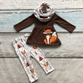 2016 FALL/Winter scarf set children cotton fox print brown girls 3pieces brown long sleeves pants boutique clothes kids wear