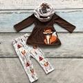 2016 OUTONO/Inverno conjunto cachecol crianças algodão impressão raposa marrom meninas 3 pieces brown mangas compridas calças roupas boutique as crianças usam