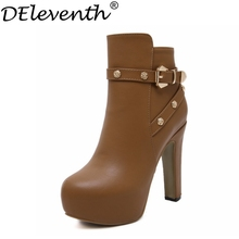 2016 Fashion New Metal Flower Boots Round Toe High Heels Buckle Cross Strap Soft Leather Square Heels Size34 Brown Black