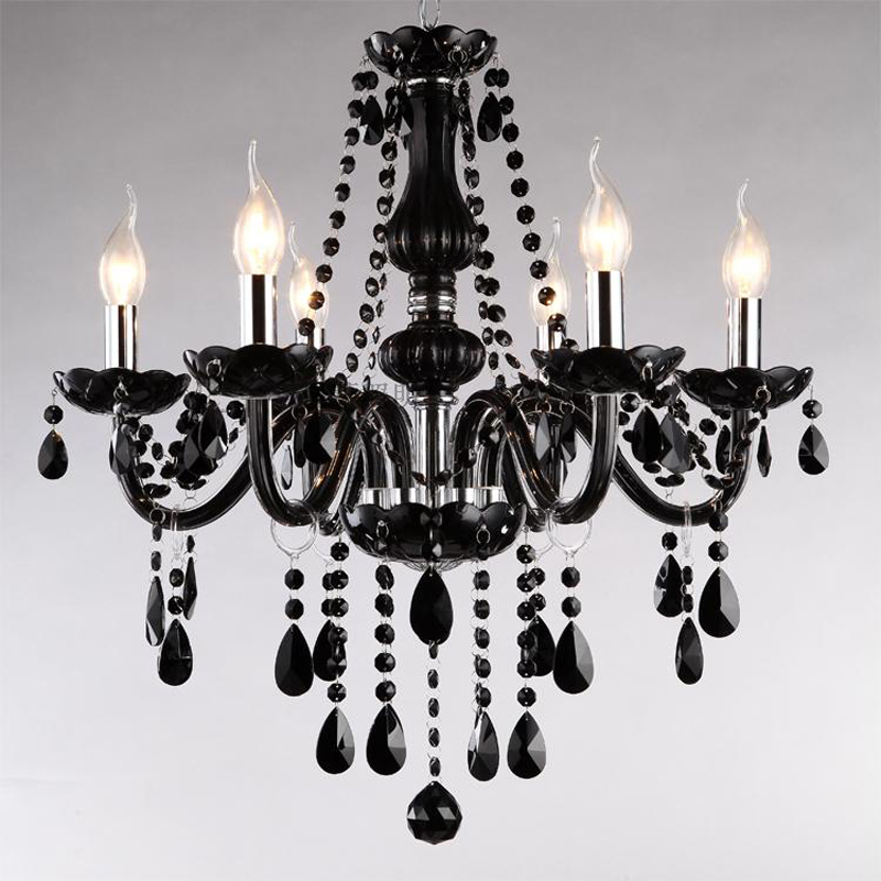 Classic Black Chandelier Light Modern Crystal Chandelier E14 Candle Holder Novelty Wedding Decorative Lighting Fixtures classical pavilion shape decorative candle holder without candle