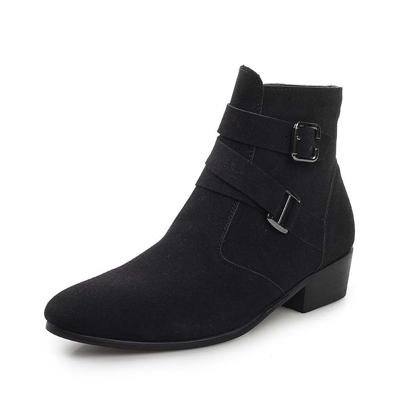 Big Size 47 Spring Autumn Men Pointed Toe Height Increase Ankle Boots Male Fashion Leather Dress High Tops High Heels Oxfords