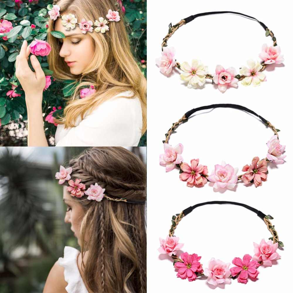MISM Sweet Flower Crown Bride Wreath Wedding Garlands Adjustable Hair Accessories Beach Wianek Kwiatowy Boho Elastic Headband