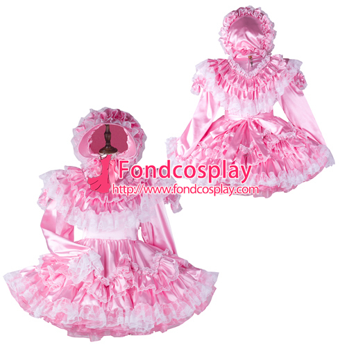 Sissy maid pink satin dress lockable Uniform costume Tailor-made[G2364]
