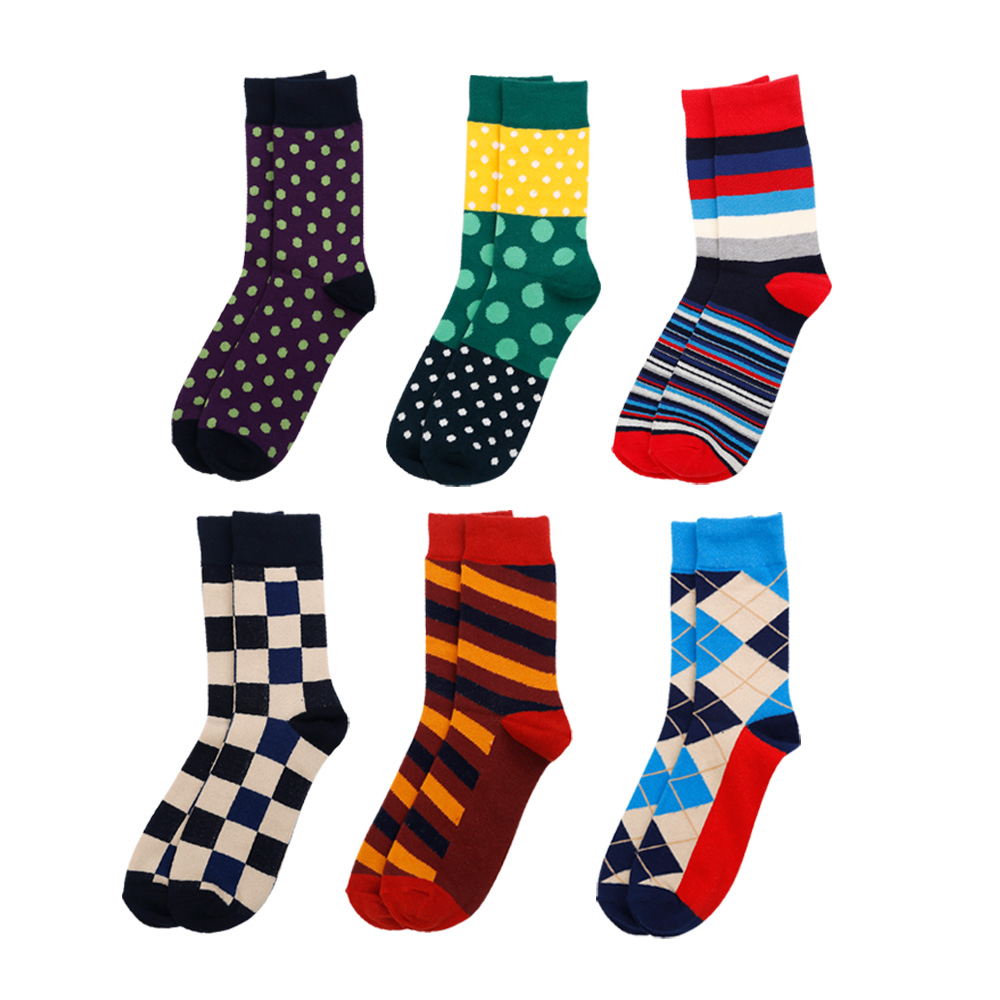 Fashion Cotton Socks Men Diamond Dots Printed Colorful Dress Socks for Men