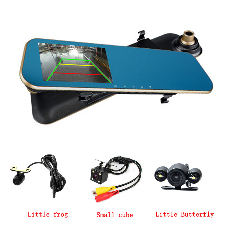 Dual Lens Car Camera Dash Cam Auto Video Recorder With 4.3 Inch Rear View Mirror Display Screen, for Vehicles Front and Rear Dvr 1080p car dash camera dvr with dual lens 4 screen