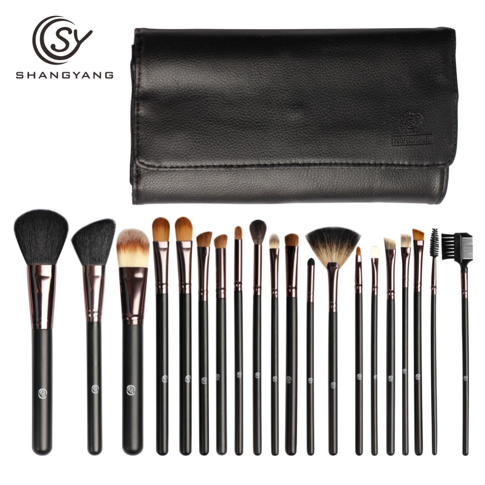 sy Professional Makeup Tools 20Pcs Make up Brushes Wooden Black Color with Leather Bag Cosmetics Beauty Kits
