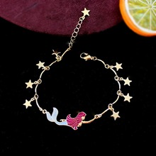 Taoup Gold Star Little Mermaid Birthday Bracelet Party Decors for Girls Babyshower Hawaiian Gifts Shell Pendants Wedding