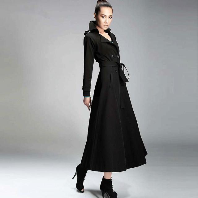 2016 Coreano Nova Moda de Ultra Longo das Mulheres Outwear Blusão Cor Sólida Double Breasted Magro Trench Coat Fêmea Magro Trincheira