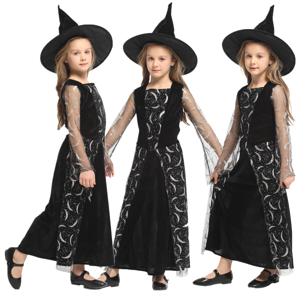Christmas Carnival COS Masquerade Halloween Witch Costume for Kids Girls Fantasia Fancy Dress Children Magician Cosplay Clothes