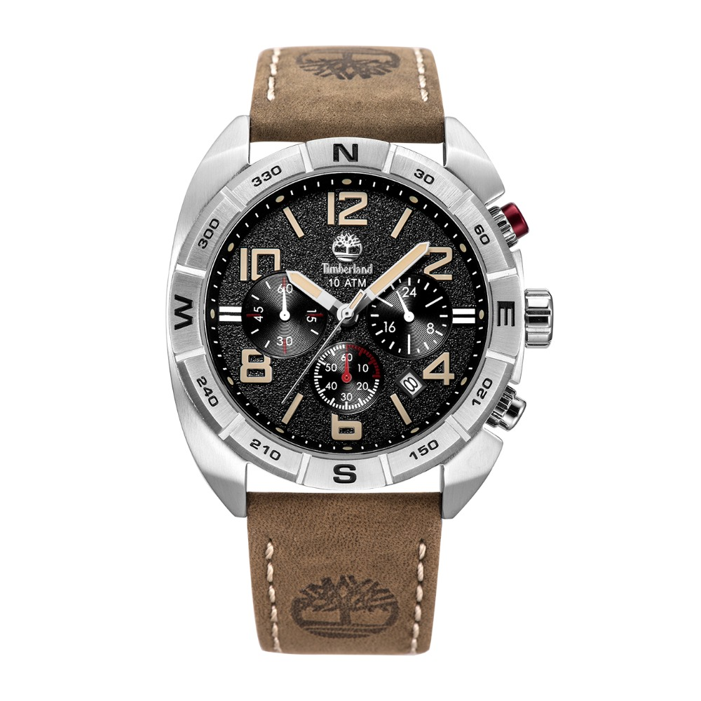 Timberland Mens Watches Multi-function Calendar Leather Casual Quartz Chronograph 100m Waterproof Watches T13670 2