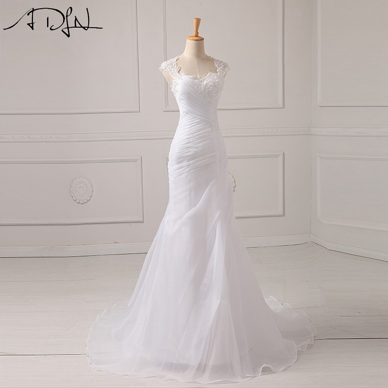 2015 Scoop Chiffon Mermaid Wedding Dresses With Lace Pleat Cap Sleeve Court Train Bridal Gowns