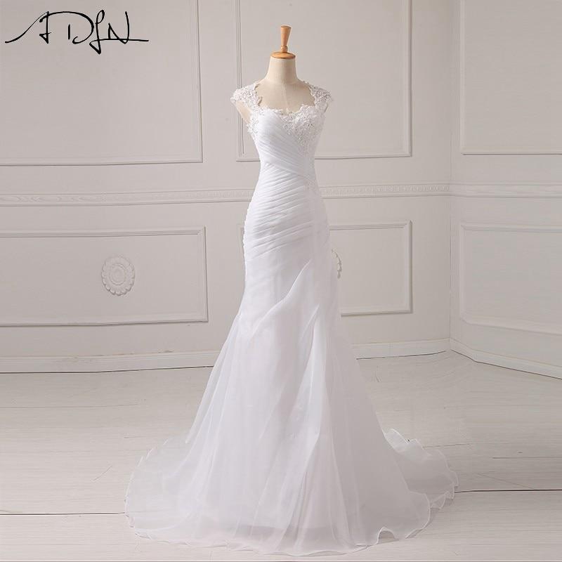 ADLN Elegant Scoop Mermaid Wedding Dresses With Pleat Cap Sleeve Illusion Back White/Ivory Organza Bridal Gown Vestidos De Novia
