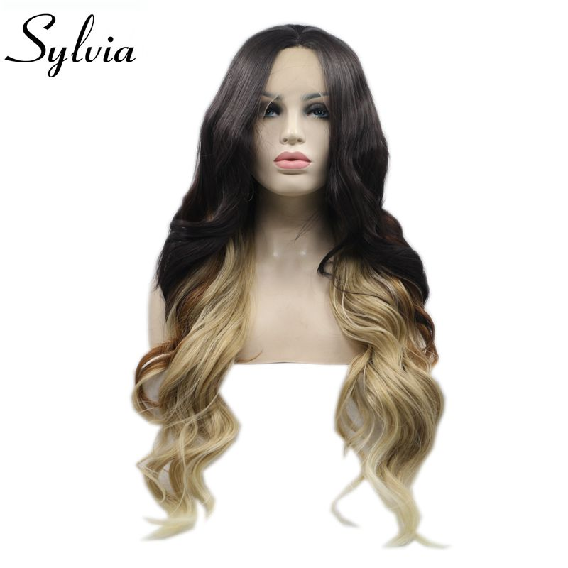 Sylvia Long Women Hair Christmas Cosplay Wigs Ombre Brown Blonde Body Wave Synthetic Lace Front Wig