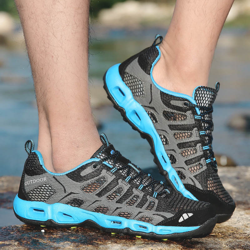 ФОТО SAGUARO 2017 Outdoor Sports Shoes Men Sneakers Cushioning Breathable Mesh Shoes Uniex Walking Camping Light Trekking Sneakers