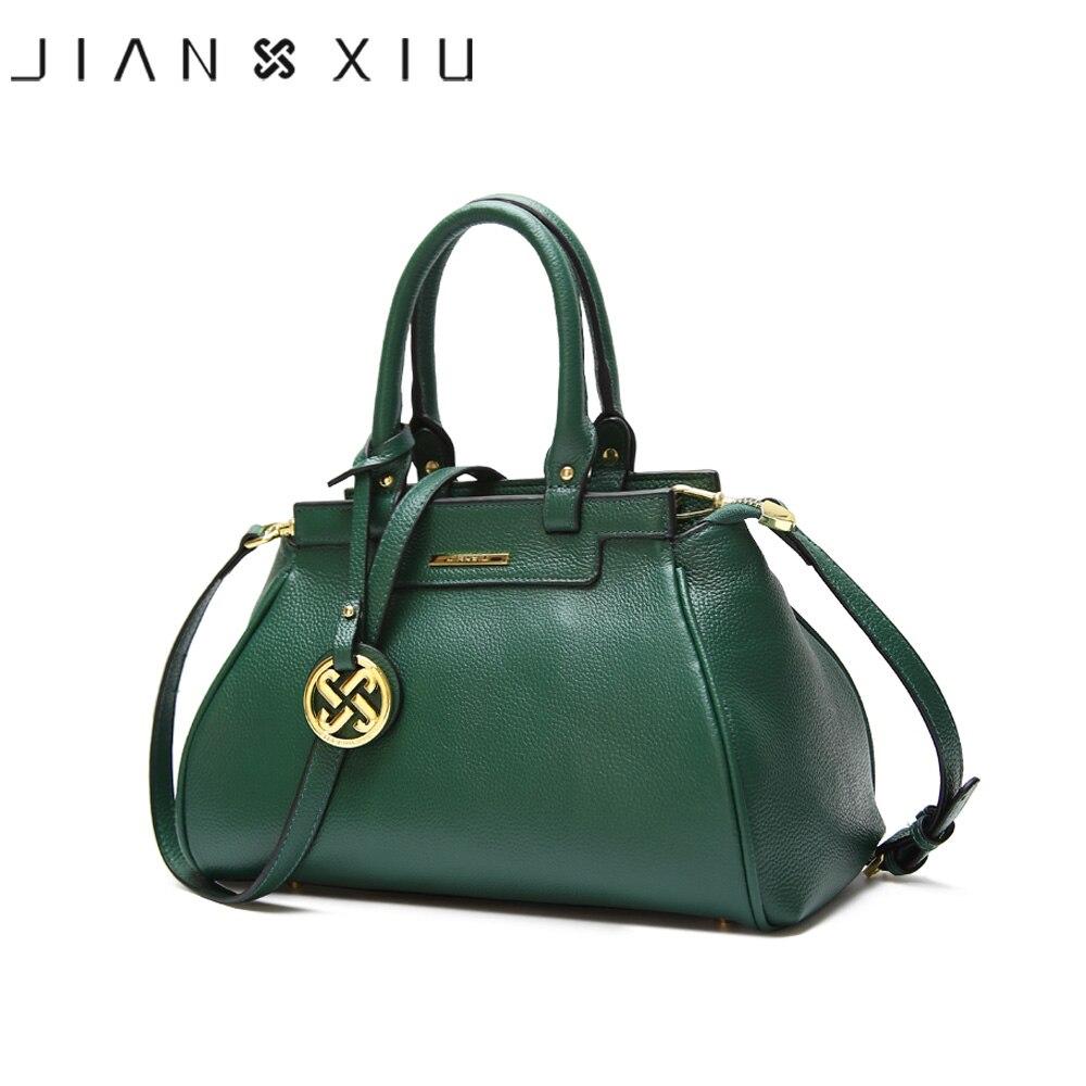 JIANXIU Brand Genuine Leather Handbags Litchi Texture Women Messenger Bags Famous Brands Handbag Fashion Shoulder Bag