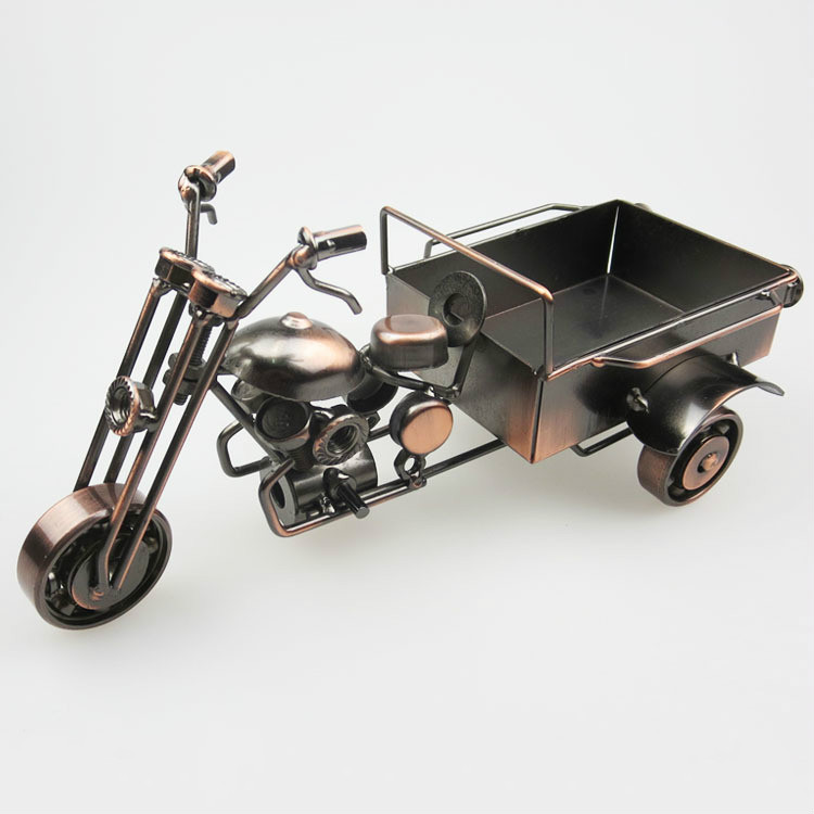 Garden decoration three wheeled motorcycle model metal for Figurine decoration jardin