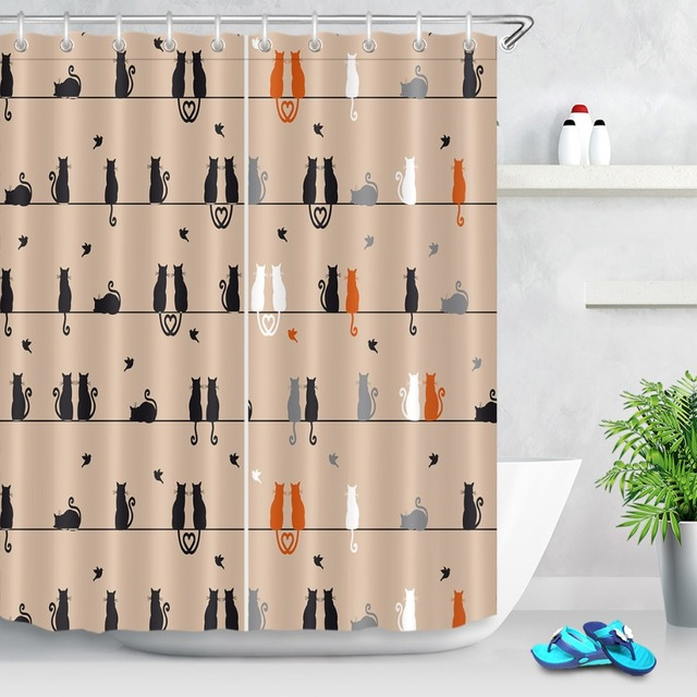 LB Black Yellow Cats Sitting And Watching Birds Shower Curtain Waterproof Polyester Bathroom Curtains Fabric For