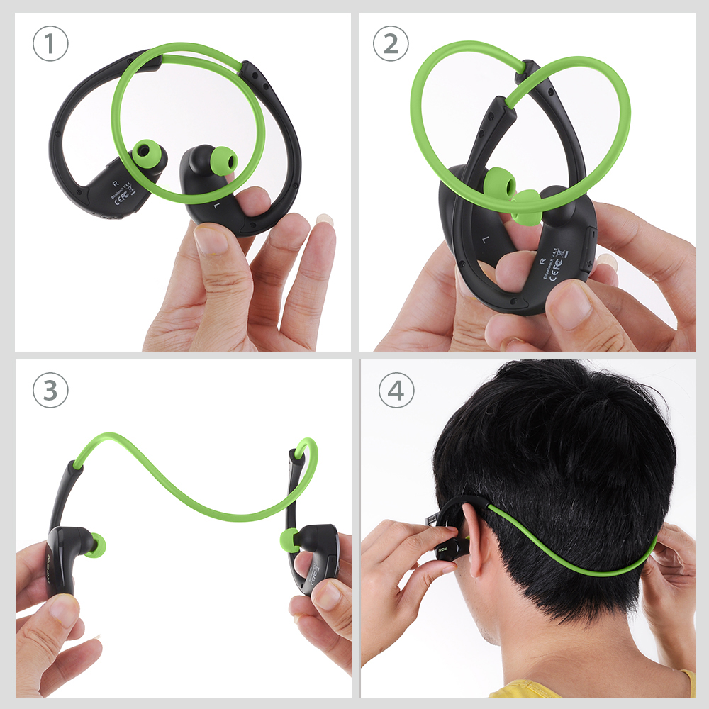 Mpow MBH6 Cheetah 4.1 Bluetooth Headset Headphones Wireless AptX Sport Earphone With Mic Hands Free Call For iOS Android